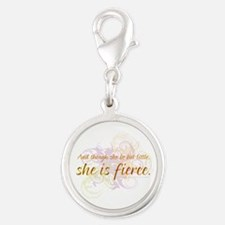 She is Fierce 2 Silver Round Charm