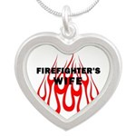 Firefighters Wife Flames Silver Heart Necklace