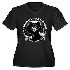 Honey badger Women's Plus Size V-Neck Dark T-Shirt