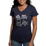 Deer in the Vineyard Women's V-Neck Dark T-Shirt