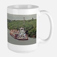 Large Mug With Towboat And Barge On Texas Canal