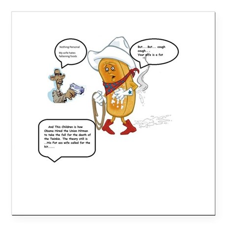 """The murder of the Twinkie Square Car Magnet 3"""" x 3"""