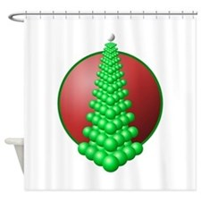 festival tree circle red Shower Curtain