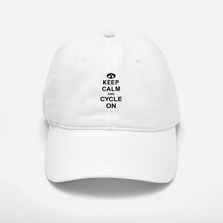Keep Calm and Cycle On Baseball Baseball Cap