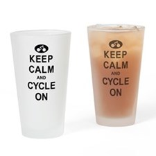 Keep Calm and Cycle On Drinking Glass