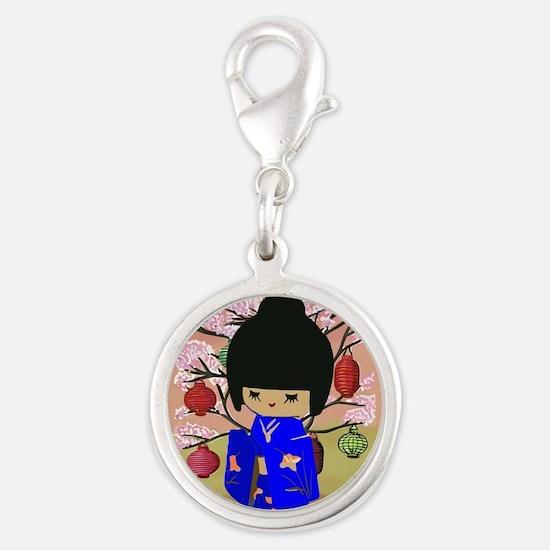 cute kokeshi doll in blue Silver Round Charm
