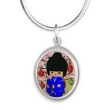 cute kokeshi doll in blue Silver Oval Necklace