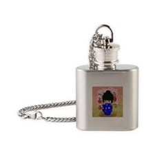 cute kokeshi doll in blue Flask Necklace
