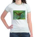 Troodon Dinosaur (Front) Jr. Ringer T-Shirt