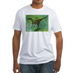 Troodon Dinosaur (Front) Fitted T-Shirt