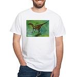 Troodon Dinosaur (Front) White T-Shirt