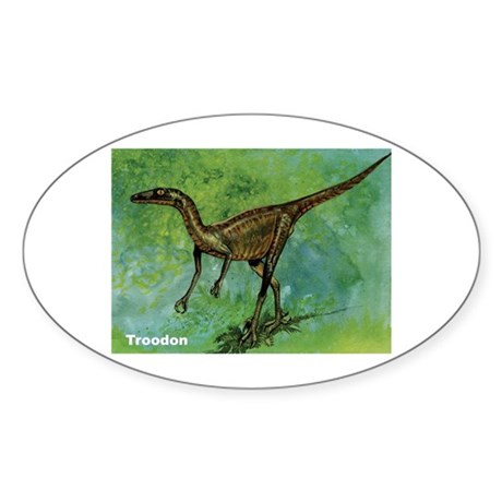 Troodon Dinosaur Oval Sticker