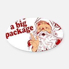 Santa Has a Big Package Oval Car Magnet