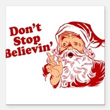 "215 Santa Claus believin.png Square Car Magnet 3"""
