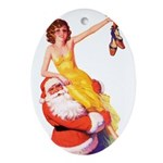Santa's Hot Number Oval Ornament