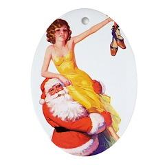 Santa's Hot Number Oval Ornament