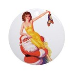 Santa's Hot Number Ornament (Round)