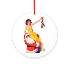 Santa's Hot Number Ornament (Round)