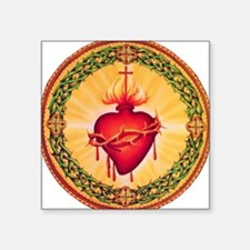 "SacredHeart_circle.jpg Square Sticker 3"" x 3"""