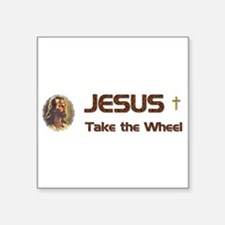 "JesusWheel_bumpersticker.jpg Square Sticker 3"" x 3"