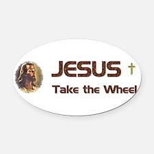 JesusWheel_bumpersticker.jpg Oval Car Magnet