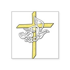 "Peace_dove_cross.png Square Sticker 3"" x 3"""
