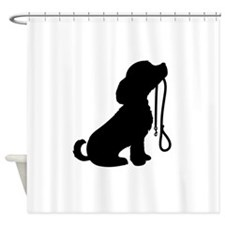 Dog and Leash Shower Curtain