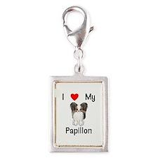 I love my Papillon (picture) Silver Portrait Charm