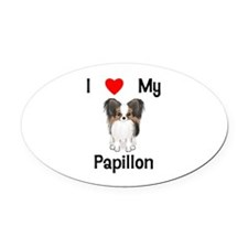 I love my Papillon (picture) Oval Car Magnet