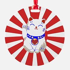 Cute Lucky cute neko cat Red and white Ornament