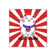 cute personalized lucky Japanese cat Square Sticke