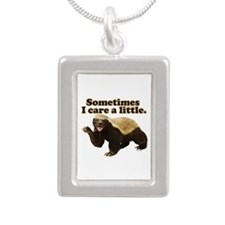 Honey Badger Cares a Little Silver Portrait Neckla