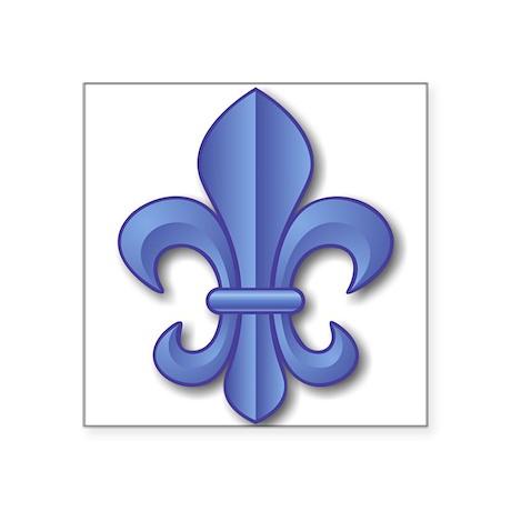 Blue Fleur de Lys Oval Sticker