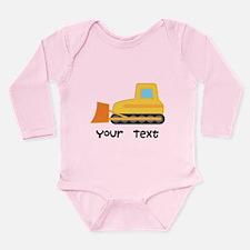 Personalized Bulldozer Long Sleeve Infant Bodysuit