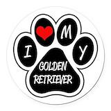 Golden retriever Round Car Magnets
