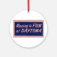 Racing Is Fun At Daytona (Blue) Ornament (Round)