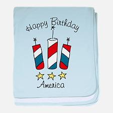 Happy Birthday America baby blanket