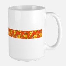 Orange Floral Strip 47 Designer Large Mug