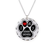 I Love My German Shepherd Necklace Circle Charm
