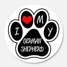 I Love My German Shepherd Round Car Magnet