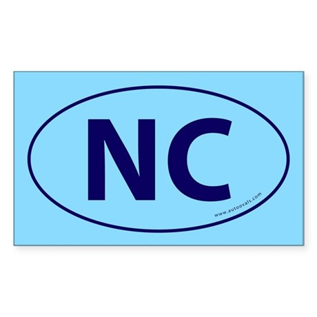 NC Euro Bumper Oval Sticker -Blue on Sky Blue Stic
