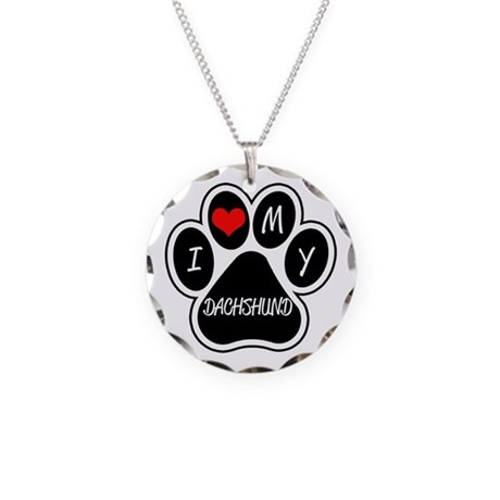 I Love My Dachshund Necklace Circle Charm