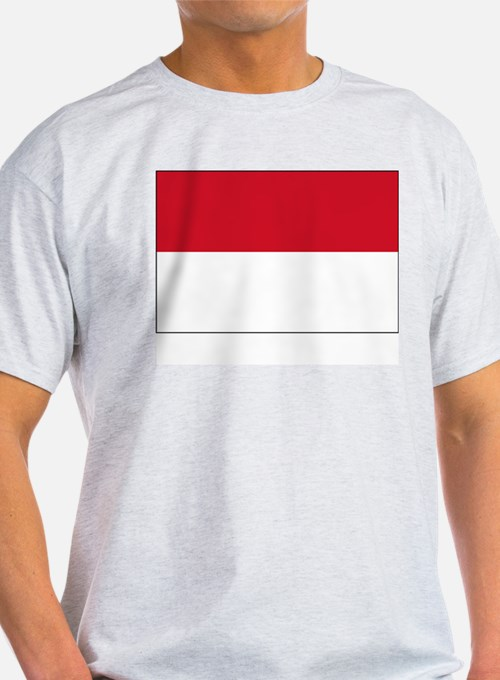 Indonesia Flag Picture Ash Grey T-Shirt