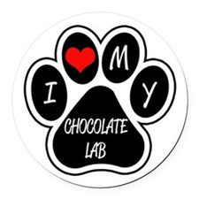 I Love My Chocolate Lab Round Car Magnet