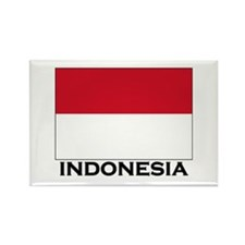 Indonesia Flag Gear Rectangle Magnet