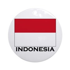 Indonesia Flag Gear Ornament (Round)