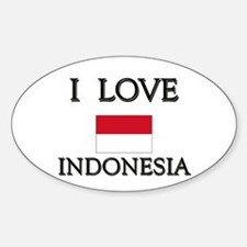 I Love Indonesia Oval Decal