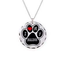I Love My Bulldog Necklace Circle Charm
