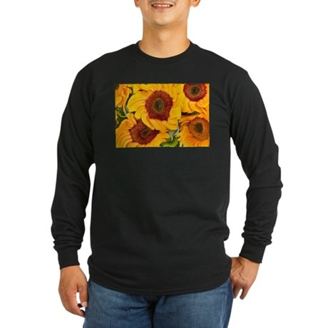 Liquid Sunflowers Long Sleeve Dark T-Shirt