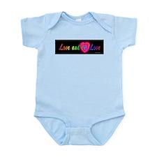 Love and let love cursive on black Infant Bodysuit
